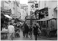Rue Mouffetard. Quartier Latin, Paris, France (black and white)