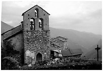 Church in high perched village. Maritime Alps, France (black and white)