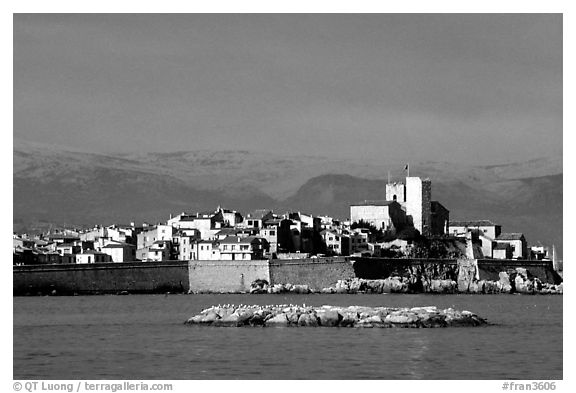 Antibes ramparts, and old town. Maritime Alps, France (black and white)
