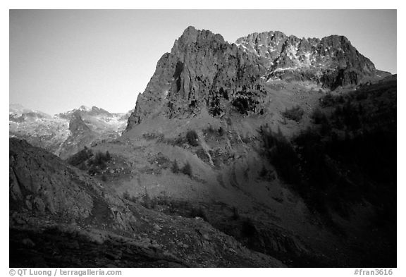 View from the Madone de Fenestre, Mercantour National Park. Maritime Alps, France (black and white)