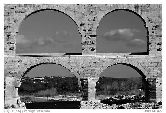Lower and middle arches, Pont du Gard. France