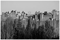 Distant view of fortified town. Carcassonne, France (black and white)