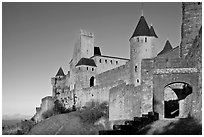 Fortress and gate, late afternoon. Carcassonne, France (black and white)