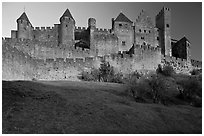 Fortified walls of the City. Carcassonne, France (black and white)