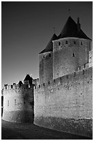 City fortifications by night. Carcassonne, France (black and white)