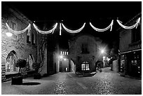 Place a Pierre Pont with Christmas decorations at night. Carcassonne, France (black and white)