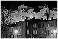 Houses and ramparts by night. Carcassonne, France (black and white)
