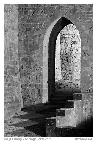 Stone gate. Carcassonne, France (black and white)