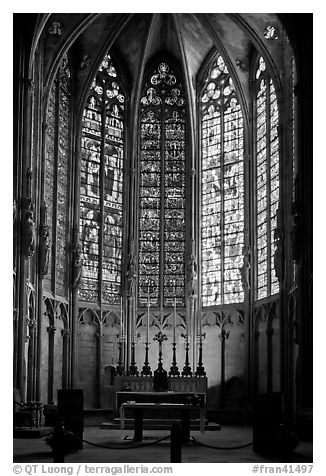 Altar and stained glass windows, Saint-Nazaire basilica. Carcassonne, France (black and white)