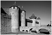 Chateau Comtal inside medieval city. Carcassonne, France (black and white)