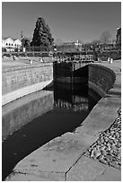 Lock and brige, Canal du Midi. Carcassonne, France (black and white)