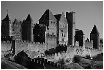 Castle and ramparts, medieval city. Carcassonne, France (black and white)