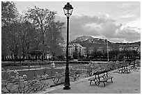 Public garden in winter. Grenoble, France (black and white)
