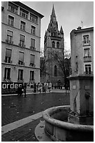 Fountain, square, and church. Grenoble, France ( black and white)