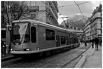 Electric Tramway on downtown street. Grenoble, France ( black and white)