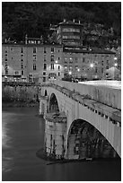Pont de la Citadelle and old houses at dusk. Grenoble, France ( black and white)