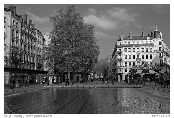 Basin and pedestrian area. Lyon, France (black and white)