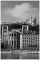 Saint Jean Cathedral and Notre Dame of Fourviere basilica. Lyon, France (black and white)