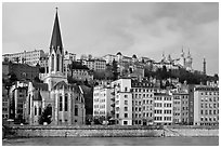 Church Saint George and Fourviere Hill. Lyon, France ( black and white)