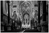 Inside Basilica Notre-Dame of Fourviere, in Romanesque and Byzantine architecture. Lyon, France ( black and white)