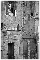 Detail of the stage wall of the Roman theatre, Orange. Provence, France (black and white)