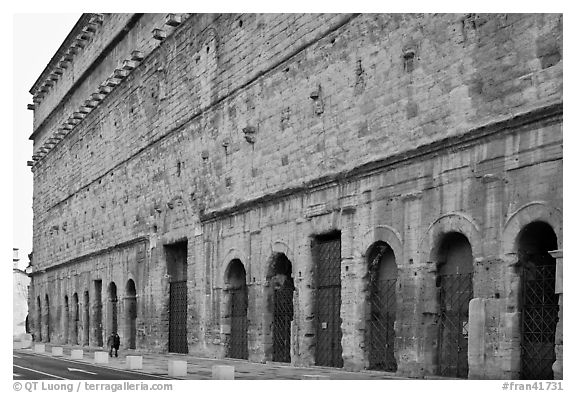 Back of the Roman Theatre. Provence, France (black and white)