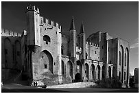 Palace of the Popes. Avignon, Provence, France ( black and white)