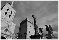 Towers and statues at sunset. Avignon, Provence, France ( black and white)