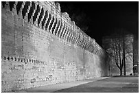 Ramparts at night. Avignon, Provence, France (black and white)