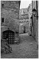 Stone streets and houses, Les Baux-de-Provence. Provence, France (black and white)