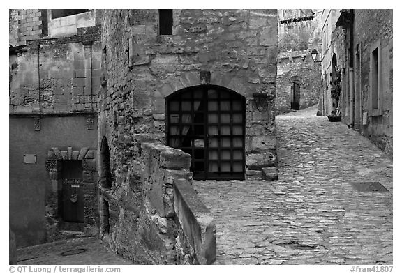 Cobblestone street, Les Baux-de-Provence. Provence, France (black and white)