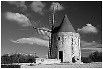 Alphonse Daudet windmill, Fontvielle. Provence, France (black and white)