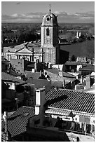 Church and rooftops. Arles, Provence, France ( black and white)