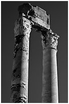 Ruined columns of the antique theatre. Arles, Provence, France ( black and white)