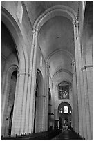 Romanesque style nave, St Trophime church. Arles, Provence, France ( black and white)