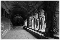 Romanesque gallery with delicately sculptured columns, St Trophimus cloister. Arles, Provence, France ( black and white)