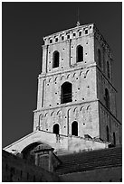Bell tower in provencal romanesque style. Arles, Provence, France ( black and white)