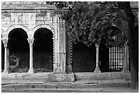 Cloister, Saint Trophimus church. Arles, Provence, France ( black and white)