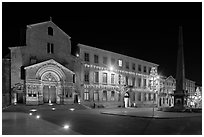 Place de la Republique and Eglise Saint Trophime at night. Arles, Provence, France ( black and white)