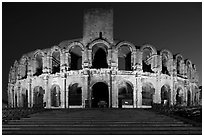 Roman Arena at night. Arles, Provence, France ( black and white)
