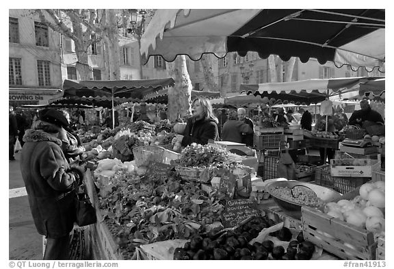 Food shopping in daily vegetable market. Aix-en-Provence, France (black and white)