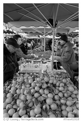 Fruit stall, place Richelme open-air market. Aix-en-Provence, France (black and white)