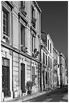 Old townhouses. Arles, Provence, France ( black and white)