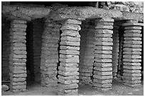 Brick pilars in baths of Constantine. Arles, Provence, France ( black and white)