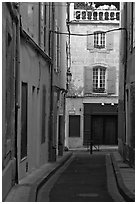 Narrow street in old town. Arles, Provence, France ( black and white)