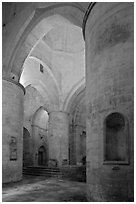 Interior of Saint Honoratus church, Alyscamps. Arles, Provence, France ( black and white)