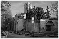Medieval Church of Saint Honoratus in Les Alyscamps. Arles, Provence, France ( black and white)