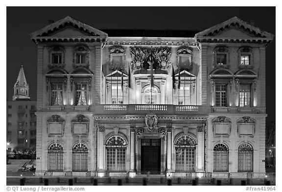 Historic customs house. Marseille, France (black and white)