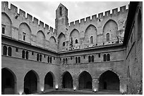 Courtyard, Papal Palace. Avignon, Provence, France ( black and white)
