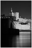 Rhone River, St Benezet Bridge and Palais des Papes at night. Avignon, Provence, France (black and white)